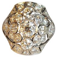 Amazing Art Deco Platinum Diamond Cluster Ring 3.48ctw.