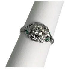 Art Deco 18kt White Gold Engagement Ring .50 carats
