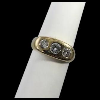 Unisex 14kt Gold and Diamond Gypsy Ring 1.0 carat