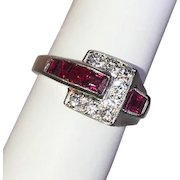 Art Deco Ruby and Diamond Buckle Ring Platinum