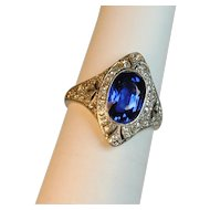 Edwardian Ceylon Sapphire 2.35 carats and Diamond Ring Platinum