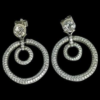 Edwardian 18kt Diamond Hoop Earrings 3.0ctw