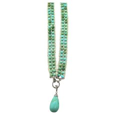 Amazing Edwardian Turquoise and Seed Pearl Necklace