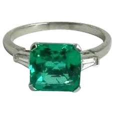 Vintage Columbian 2.56 carat Emerald and Diamond Ring in Platinum