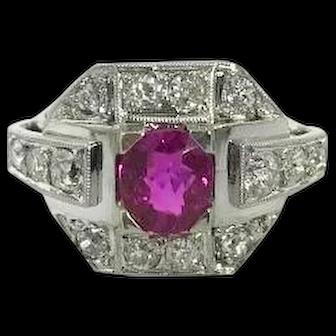 Art Deco Platinum Ruby 1.0ct and Diamond Ring