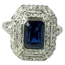 Art Deco Style Platinum 2.0ct Sapphire and Diamond Ring