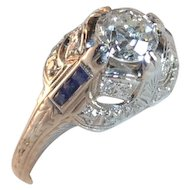 Art Deco Platinum .90 carats Engagement Ring