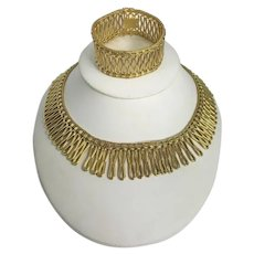 Unique Retro 18kt Gold Necklace and Bracelet Set