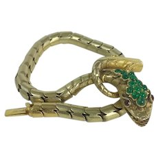 18kt Early Victorian Snake Bracelet with Emerald Head