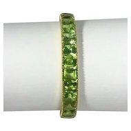 Estate 18kt Yellow Gold Peridot Bangle Bracelet 29ctw.
