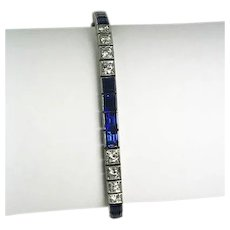 Art Deco 3.0ctw. Diamond and Synthetic Sapphire Line Bracelet Platinum
