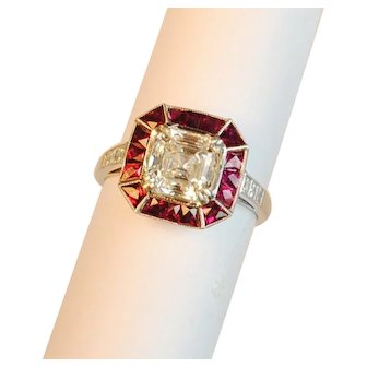 Art Deco Style Diamond and Ruby Engagement Ring 2.01 carats GIA Cert.
