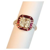 "Modern ""Sophia D"" Diamond and Ruby Engagement Ring 2.01 carats GIA Cert."