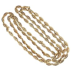 Victorian Long 18kt French Fancy Open Link Chain Necklace 40""