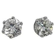 Estate 14kt White Gold Diamond Stud Earrings 1.50ctw