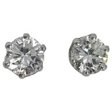 Estate 14kt White Gold Diamond Stud Earrings 1.50ctw