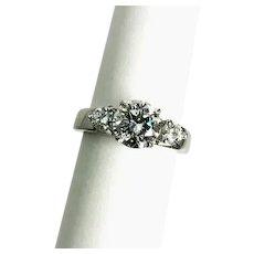 Estate 18kt White Gold 3-Stone Diamond Engagement Ring 1.89ctw. GIA Cert.
