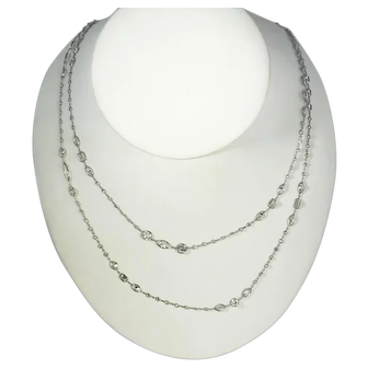 One of a Kind Handmade Platinum Diamond Chain Necklace 42 inches 16.82 carats