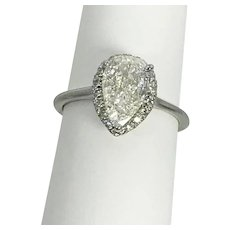 1.28 Carat Pear Shaped Diamond Halo Ring 18kt White Gold