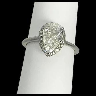1.28 Carat Pear Shaped Diamond Halo Ring 18kt White Gold