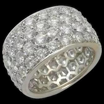 Modern Wide 18kt White Gold Diamond Eternity Band 6.9ctw.