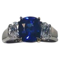 Modern 18kt Sapphire 3.50 carat & Diamond .80 ctw. 3-Stone Ring
