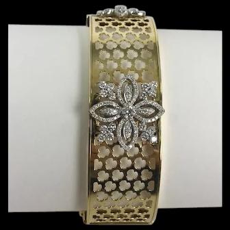 18kt Wide Modern Diamond Flower Bangle Bracelet