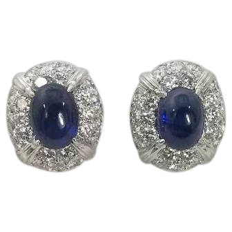 Fabulous Modern Cabochon Sapphire and Diamond Earrings Clip