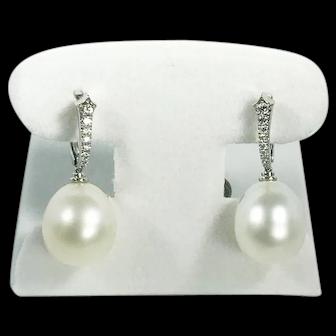 Modern Platinum South Sea Pearl & Diamond Earrings