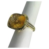 Large Modern 18kt Citrine 15ct and Diamond Cocktail Ring