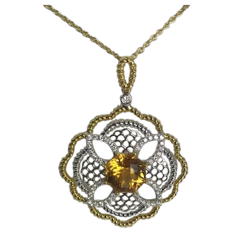 Modern Citrine and Diamond Pendant 18kt Two Tone Gold