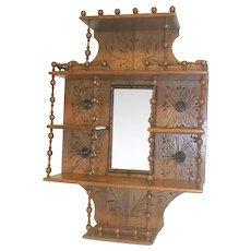 Victorian Stick and Ball Shelf with Mirror  Circa 1890