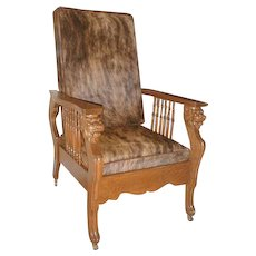 Morris Chair with Lions Heads and Hairy Cowhide / Leather