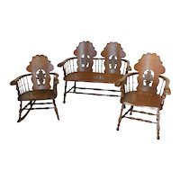 Victorian Oak Settee and Matching Chairs