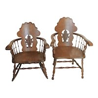 Oak Victorian  Side Chair and Matching Rocking Chair