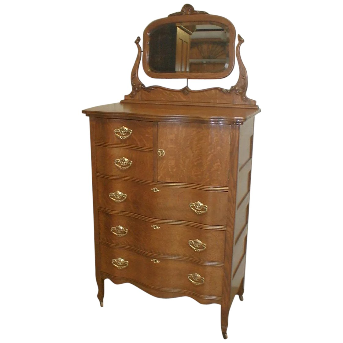 Oak Serpentine Chest Of Drawers With Mirror. Click To Expand