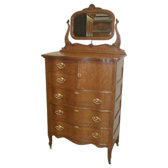 Oak Serpentine Chest of Drawers with Mirror