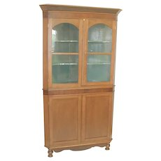 Primitive Oak Corner Cabinet with Mahogany Accents