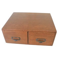 Oak File Box with 2 Drawers