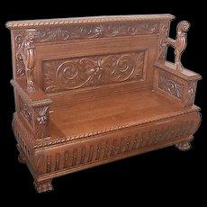 Oak Victorian Hall Bench by R J Horner