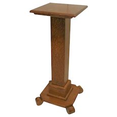 Oak Pedestal Plant Stand in Empire Style