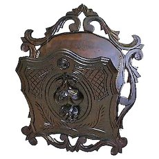 Victorian Walnut Hanging Mail Holder