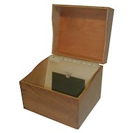 Oak Index Card File Box by Imperial