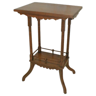 Oak Victorian Table with Stick and Ball Decoration