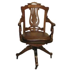 19th Century Walnut American Office Chair