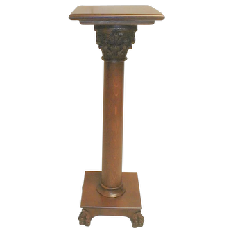 Oak Victorian Pedestal Plant Stand with Gothic Capital