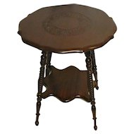 Mahogany Lamp Table with Carved Top