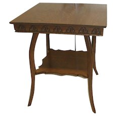 Oak Lamp Table with Carved Skirt