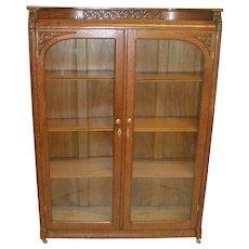Oak Victorian Bookcase with Double Doors