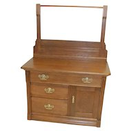 Oak Victorian Eastlake Washstand with Towel Bar